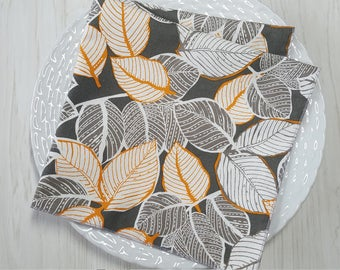 Cloth Napkins Modern Leaves Gray Orange Set of 4