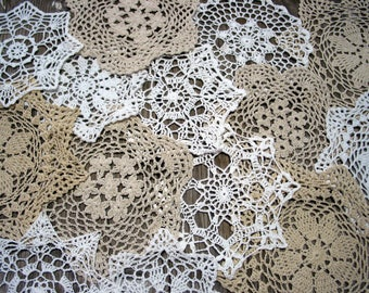 "lot of 15 Hand Crochet Doily 5""-7""-8""-9""-11"" RD for Cottage/Victorian/Shabby/Boho/French Style,Tea Party, Vintage Wedding"