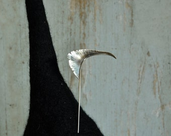 Sterling silver feather hat pin number two.