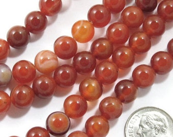 "15"" Round Gemstone Beads-RED AGATE 8mm (48)"
