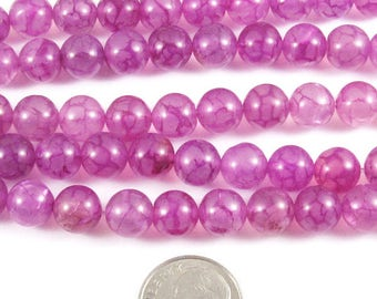 "Round Gemstone Beads-Pink/Purple Dragon Vein Agate 15"" Strand 8mm (48)"