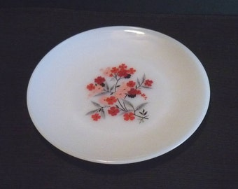 Vintage Fire King Primrose Milk Glass Dinner Plate 9 Inch White Pink Red Flowers Floral Anchor Hocking