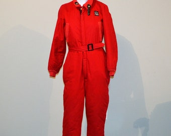 Vintage Red 1950's One Piece Ski Suit