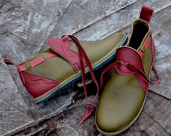 "Leather Handmade Shoes - olive green waxed cow with redwood buffalo trim ""n0shoes"" .  - Custom or stock  Size 5-10"