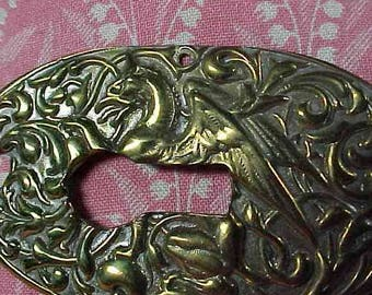 Vintage Key Hole Escutcheon Surround with Dragon for use or Repurpose