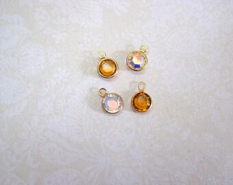 Swarovski Crystal Topaz Crystal AB Gold Metal Bezel Charms - Set of 4 - 10x7mm