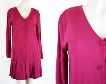 Hot Pink Long Sleeve Pleated Skirt Drop Waist 90's Woman's Vintage Express Brand Dress