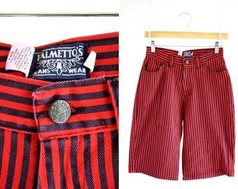 Red and Black Retro Palmeto Brand Woman's 90's High Waist Knee Length Vintage Denim Short