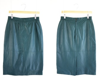 Vintage Diversity Brand Teal Blue High Waist Below Knee Leather Woman's Retro Pencil Skirt