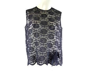 Vintage 70's Black Sheer Lace See Through Crew Neck Sleeveless Woman's Retro Blouse