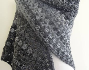 Crochet Shawl Triangular Shawl in Granny Square Pattern Grey Tones- Warm Wrap- Crochet Wrap- Ready to Ship - Direct Checkout - Gift for Her