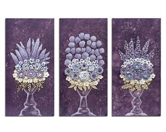 Floral Artwork - Purple Sculpted Rose Still Life - Three Textured Paintings on Canvas - Medium 32x20