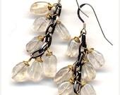 SALE Grape Earrings in Crystal Quartz. Sterling Silver Ear Wire. Winter Color  Earrings, Handmade Jewelry by AnnaArt72