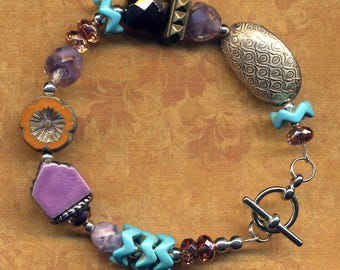Purple Turquoise Chunky Bracelet, Purple House Cooper Bracelet, One of a Kind Orange Statement Porcelain Bracelet, Home Sweet Home Bracelet