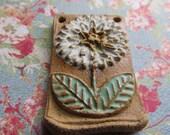 ONE LEFT & w/ add ons! Classic Bead White Sage Posie, Art Bead, Artisan Ceramic Pendant,flower pendant, zinnia Pendant, gift for gardener