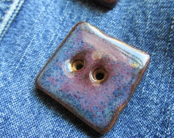 Pair of Glossy Blue Purple Square Button, Purple Button, Handcrafted Button, Handmade Button, Stoneware, Ceramic Button, Button, Buttons,