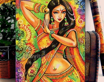 Indian girl, woman, Bollywood dancer, Indian painting, Magic of dance, home decor wall decor woman art, ACEO wood block, ABDG