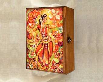 Indian classical dance painting, Bharatanatyam, Goddess dancer, Indian woman dancer, Indian woman art jewelry box, 7x10