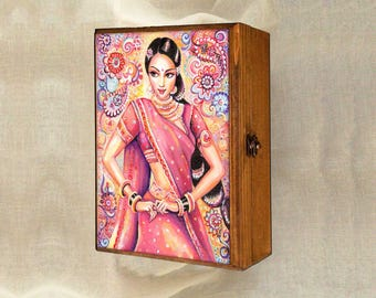 feminine beauty bollywood dance Indian decor beautiful Indian woman painting devika dance, keepsake box, jewelry box, 7x10