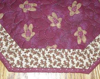 Quilted Table Topper,  Gingerbread Table Topper, in Burgundy and Cream, 18 x 18 inches