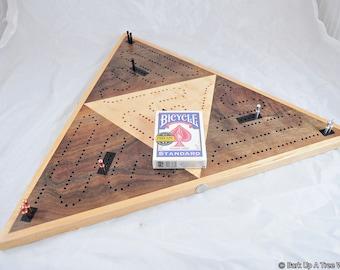 Triangle 3 Player Race Cribbage Board -  Western Walnut & Birdseye Maple
