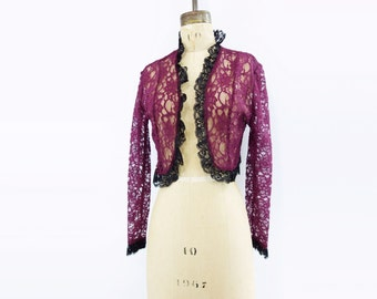 saleVintage Lace Jacket Purple Lace Shrug Sheer Bolero Jacket Boho Cropped Jacket Ruffled Lace Shrug Purple Sheer Jacket 90s Lace Bolero m