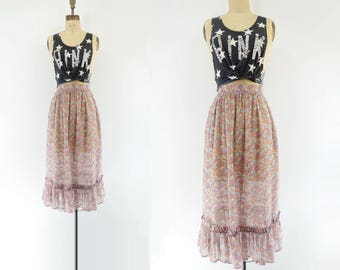 70s Floral Skirt Boho Peasant Skirt Floral Peasant Skirt Vintage 70s Skirt 1970s Ruffled Skirt Pink Floral Skirt Floral Full Skirt xs