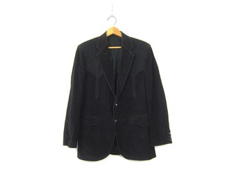 Black Western Jacket Suit Coat 1970s Vintage Hipster Circle S Coat Blazer Corduroy Ranch Wear Dress Coat Men's Size 40
