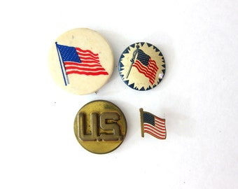 Old metal USA Flag Pin instant Collection Metal PinBacks Brooch Vintage Retro Stick Pins Hipster Jewelry Lapel Pin Circle Pin Old School