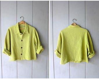 Button Up Textured Cotton Jacket Spring Green Minimal Cotton Knit Shirt 90s Boxy Cropped Top Long Sleeve Casual Blouse Coat Womens Large