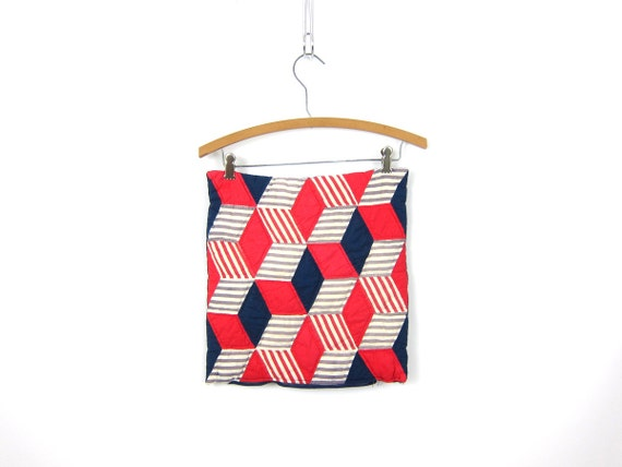 1950s Quilted Pillowcase Vintage pillow case Red White Blue Squares Cubes Stripes Throw Pillow Cover Handmade Home Decor