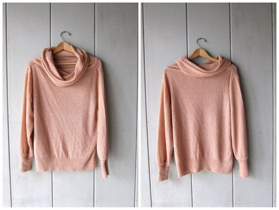 Vintage Blush Pink Nubby Knit Sweater Thin Sheer Knit Pale Pink Blouse with Cowl Neck Vintage 90s Minimal Long Sleeve Top Womens Large