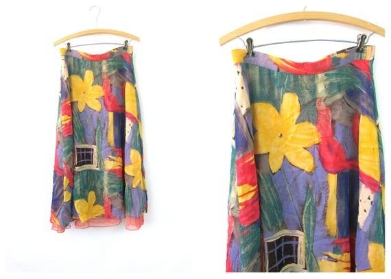 Long Rayon Skirt Sheer Floral Print Maxi Flower Pattern Skirt Bohemian High Waist Skirt 1990s Revival Womens size Small Medium