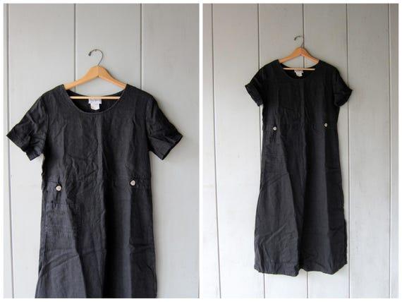 Black Linen Dress Long Black Maxi Dress Short Sleeve Frock POCKET DRESS Minimal Loose Fit Shirt Dress Vintage 90s Dress Womens Large Medium