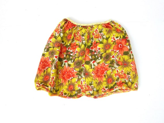 vintage Pajama Shorts Yellow and Orange Flower Print Women's Bloomer Boxer Shorts PJS 1950's retro lounge wear Louanne's Small Medium