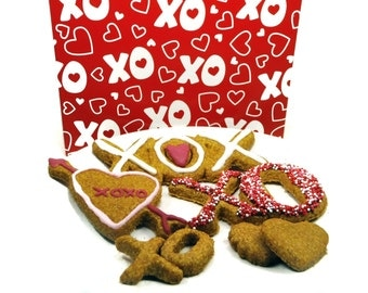 Gourmet Dog Treats -Love and Kisses Valentine's Day Basket - Dog Treats Organic All Natural Gourmet Vegetarian - Shorty's Gourmet Treats