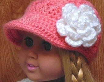 CROCHET PATTERN, 18in Doll Newsboy Hat, Designed for 18in Dolls, Doll Clothes, Flower Pattern Included, skill level intermediate