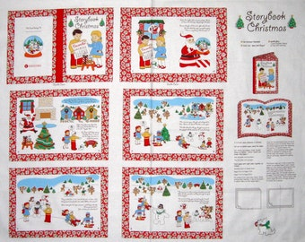 "34"" Fabric Panel - Windham Cut & Sew Storybook Christmas Vintage Repro Feedsack"