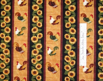 Country Fabric - Morning Call Rooster & Sunflower Stripe - Henry Glass YARD