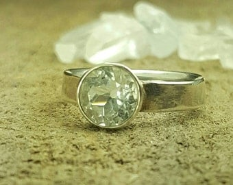 White Topaz diamond cut, sterling silver solitaire, women's ring, engagement ring, promise ring, size 5, ready to ship.