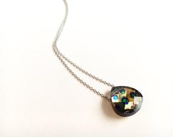 Peacock Swarovski Crystal Briolette Necklace