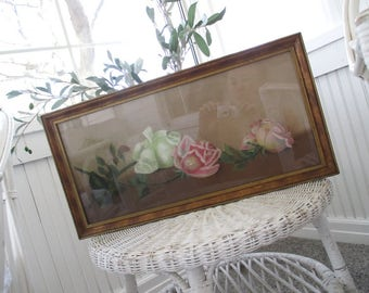 Vintage Painting * Pink & White Roses * Shabby * Pastel Chalk Art * Antique Half Yard Long