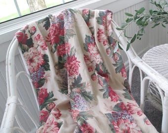 Vintage Barkcloth Panels * Roses * Peonies * Hydrangeas * Floral Bouquets * Shabby Cottage * Curtains Drapes * Fabric