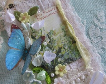 Butterfly Art Tag Floral Art Spring Art Tag French Perfume Label Gift Tag Mixed Media Hang Tag
