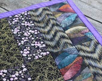 Purple quilted Candle mat table quilt mini quilt Eclectic Purple Gold patchwork quilt Purple Table Runner Made in USA