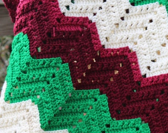 Green Cream Burgundy Crochet Afghan Handmade blanket Couch Throw Stroller Blanket Car Blanket