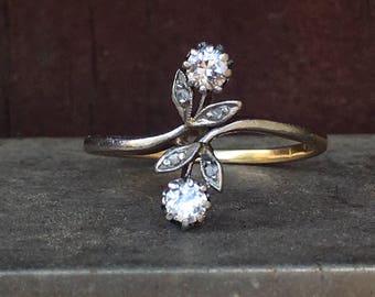EDWARDIAN DIAMOND ANTIQUE moi et toi flower bypass 14k gold vintage engagement ring size 6.25 circa 1910