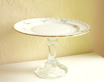 Pedestal Dish with Colorful Flowers and Gold Trim