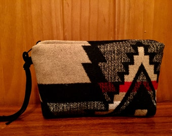 Wool Clutch Unlined / Travel Bag / Cosmetic Bag Large Black & Tan Southwest Tribal Handcrafted From Pendleton Woolen Mill Fabric
