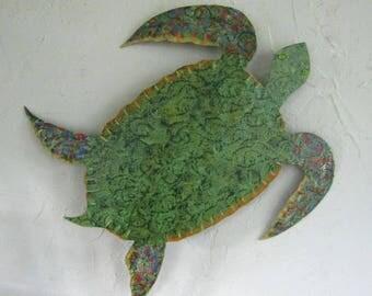 Metal Wall Art Sea Turtle Sculpture Ocean Beach House Wall Decor Bright Beautiful Green Blue Bathroom Wall Art  Sea Life 13 x 12